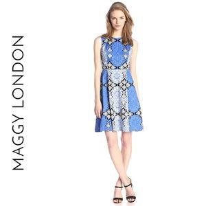 Maggy London Paisley Printed Fit and Flare Dress